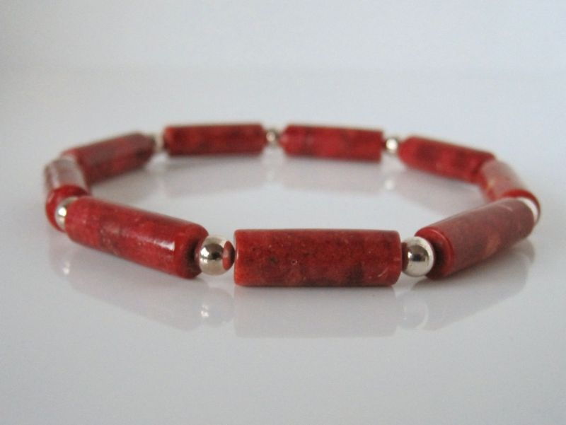 Red Tube Beads & Sterling Silver Bracelet